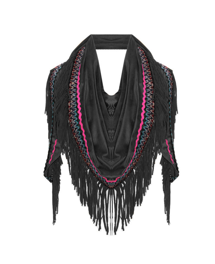 Boho Fringes Sjaal Black