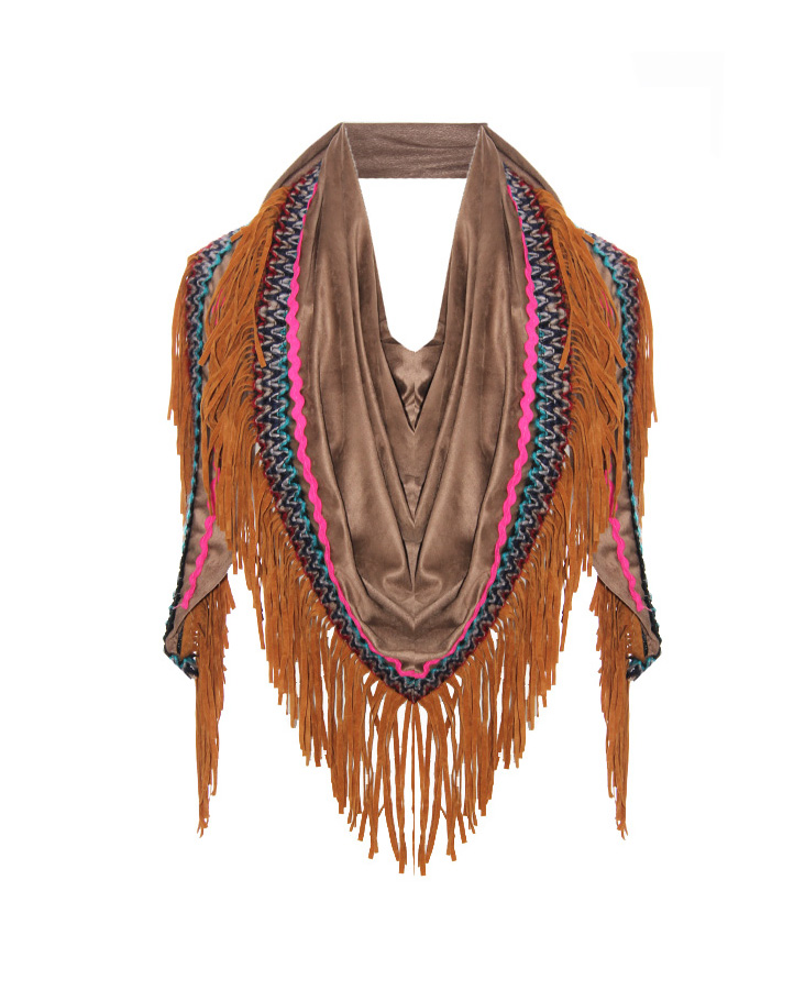 Boho Fringes Sjaal Taupe